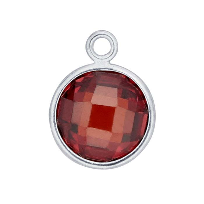 Sterling Silver Round Checkerboard Red CZ-Set Component
