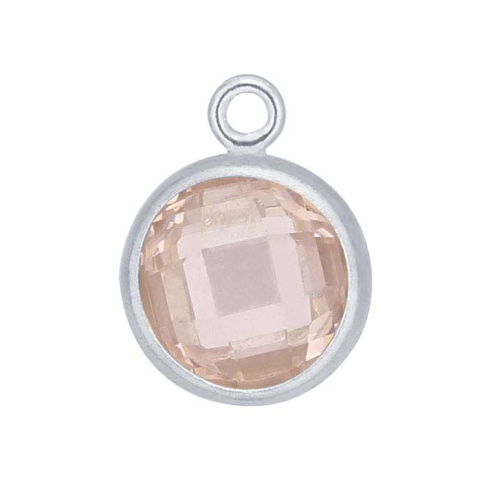 Sterling Silver Round Checkerboard Pink CZ-Set Component