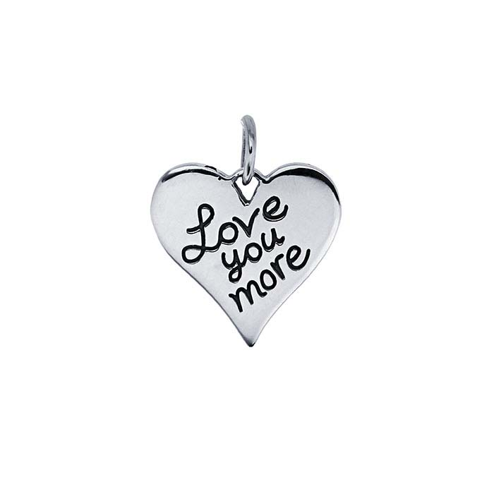 """Sterling Silver """"Love You More"""" Heart Pendant"""