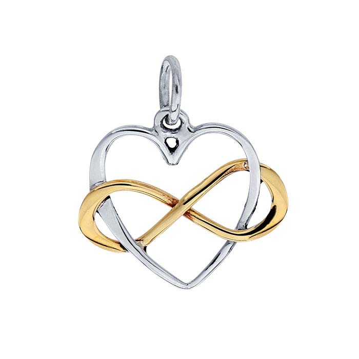 Sterling Silver Intertwined Open Heart and Bronze Infinity Link Pendant
