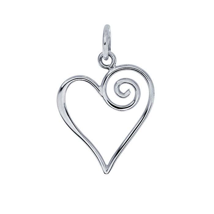 Sterling Silver Open Swirl Heart Pendant