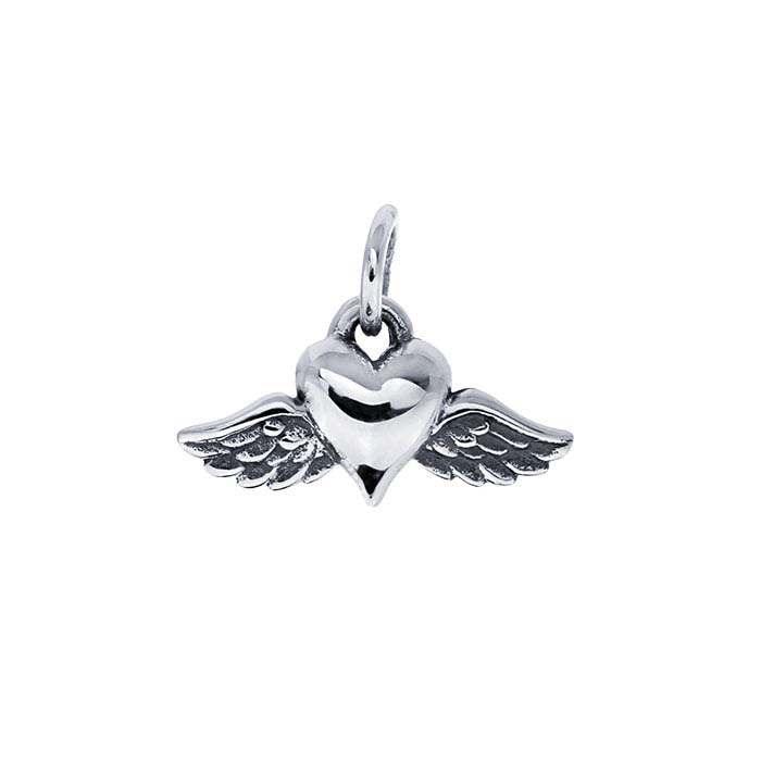Sterling Silver Heart Charm with Wings