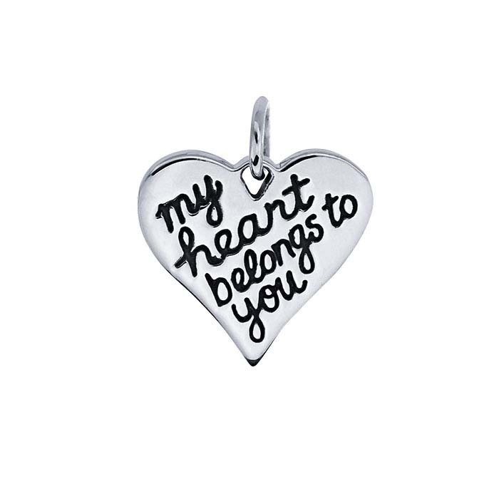 "Sterling Silver ""My Heart Belongs to You"" Heart Charm"