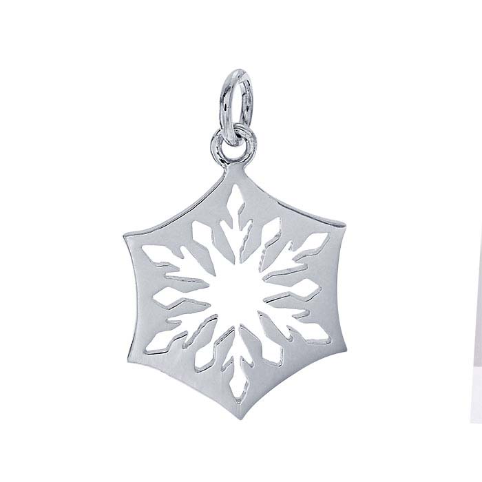 Sterling Silver Scalloped Cut-Out Snowflake Pendant