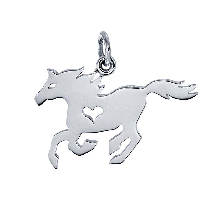 Sterling Silver Horse Charm with Heart Cut-Out