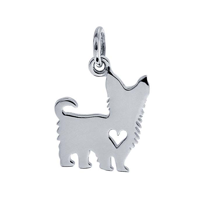 Sterling Silver Yorkie Charm with Heart Cut-Out