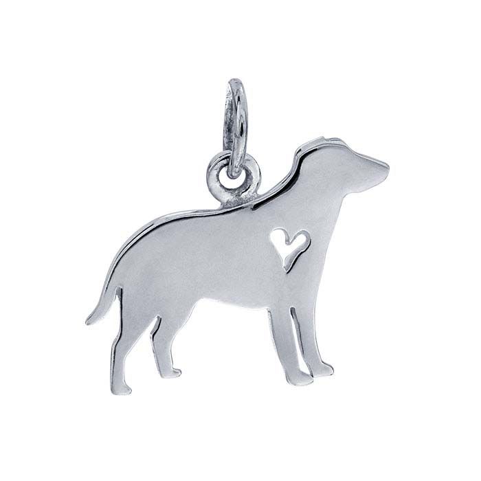 Sterling Silver Labrador Charm with Heart Cut-Out