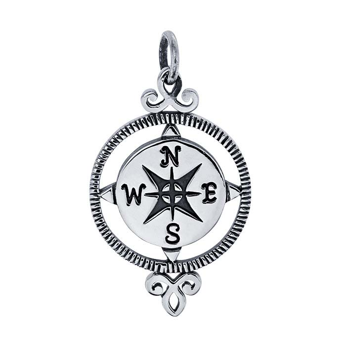 Sterling Silver Compass Rose Round Pendant