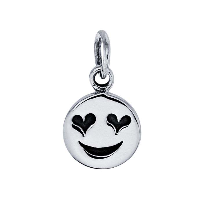 Sterling Silver Heart-Eyes Emoji Charm