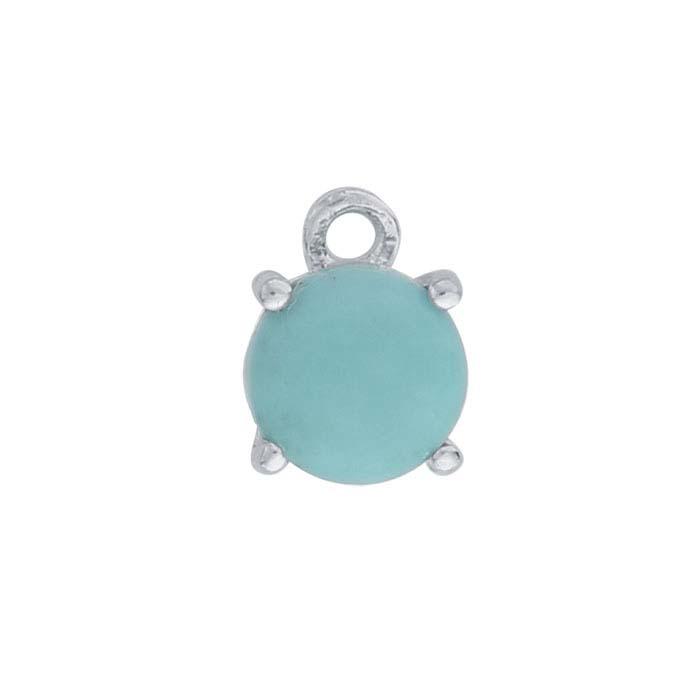 Sterling Silver Round Turquoise-Set Component