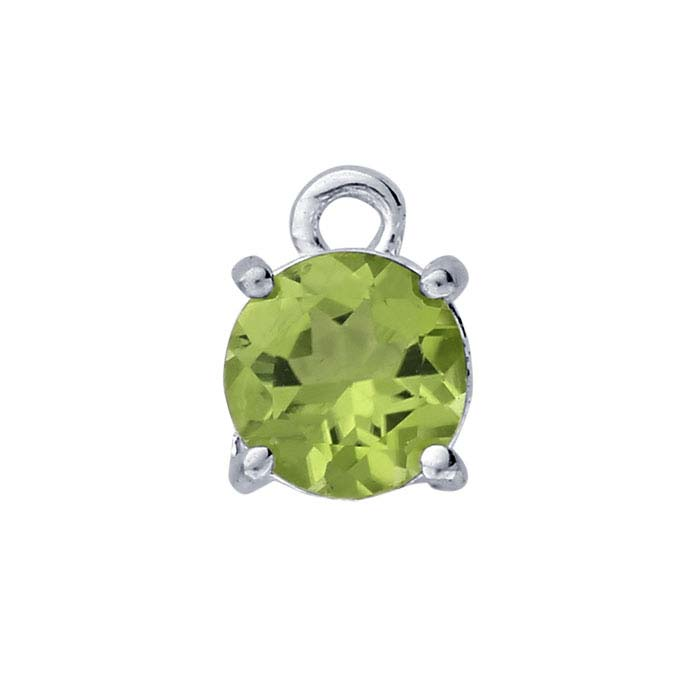 Sterling Silver Round Peridot-Set Component