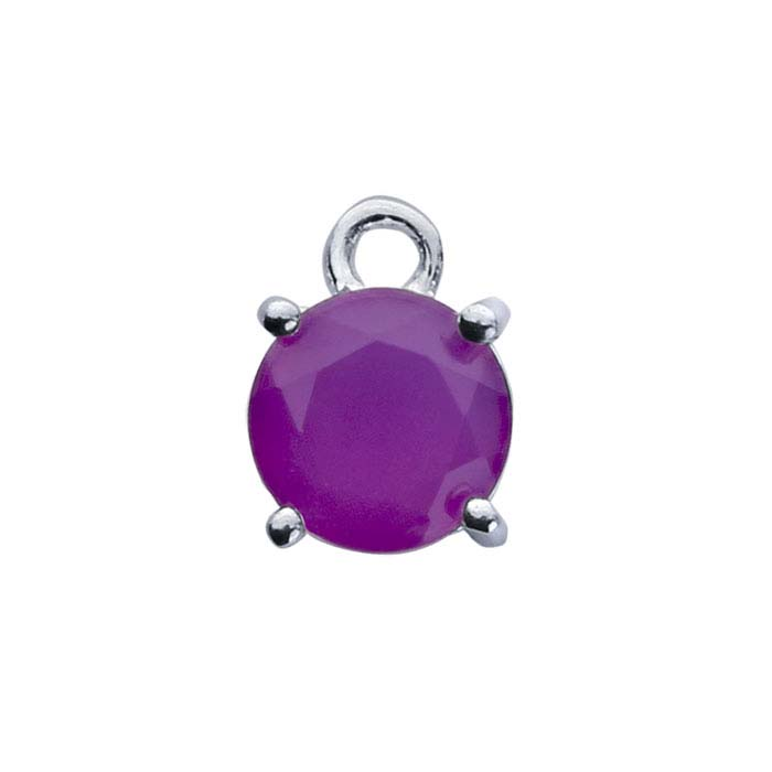 Sterling Silver Round Purple Chalcedony-Set Component