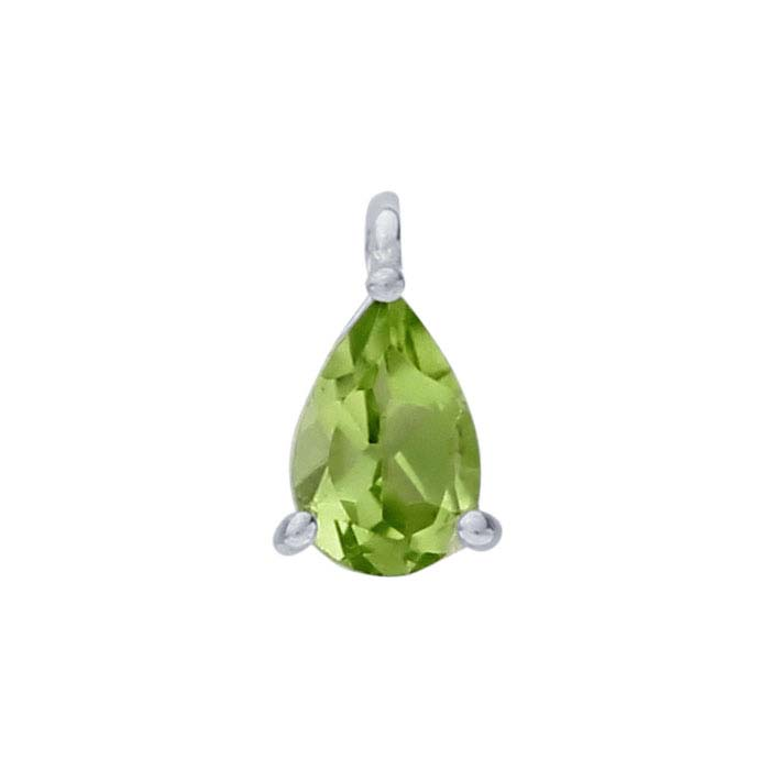 Sterling Silver Pear Peridot-Set Component