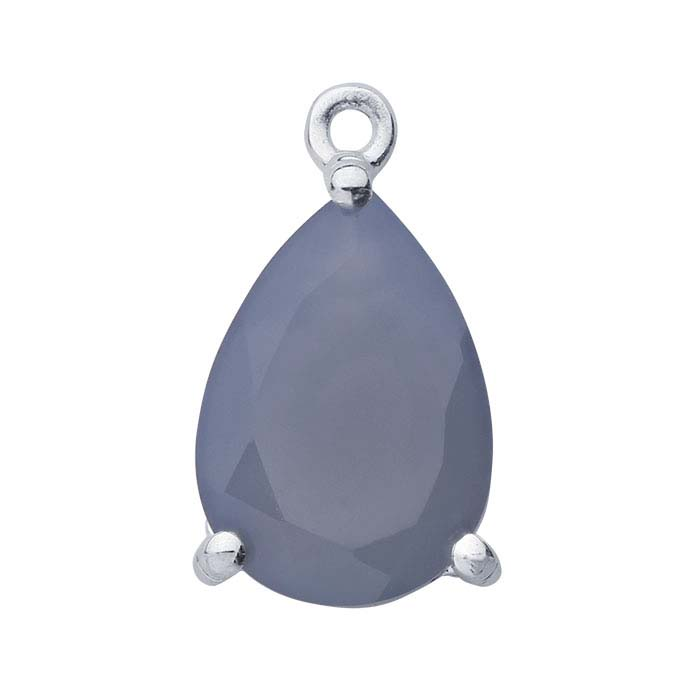 Sterling Silver Pear Lavender Chalcedony-Set Component