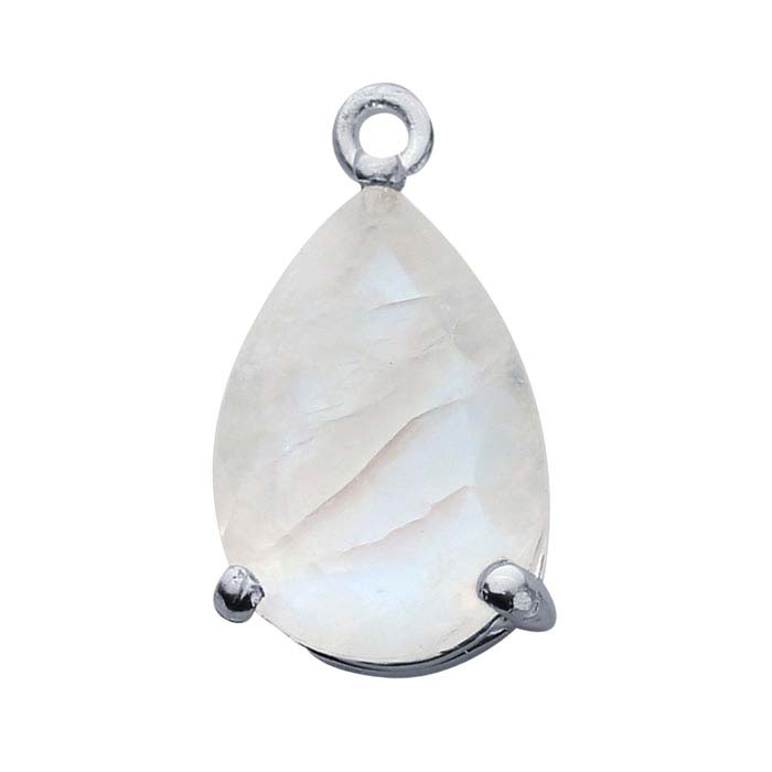 Sterling Silver Pear Moonstone-Set Component