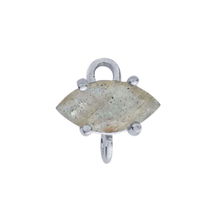 Sterling Silver Marquise Labradorite-Set Component with Rings