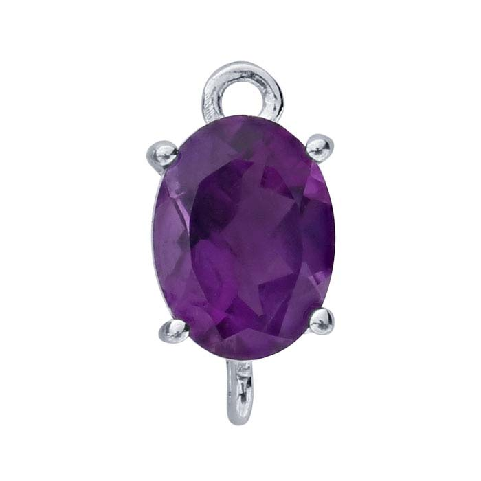 Sterling Silver Oval Amethyst-Set Component with Rings