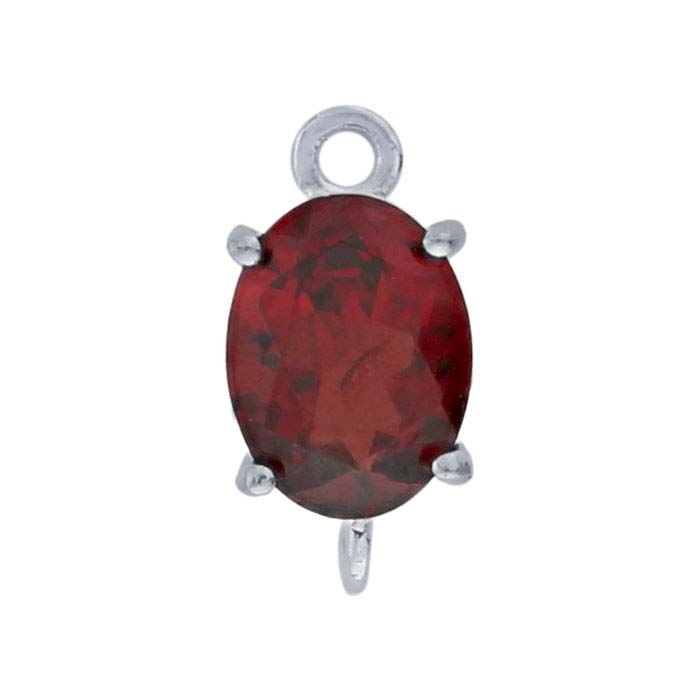 Sterling Silver Oval Garnet-Set Component with Rings