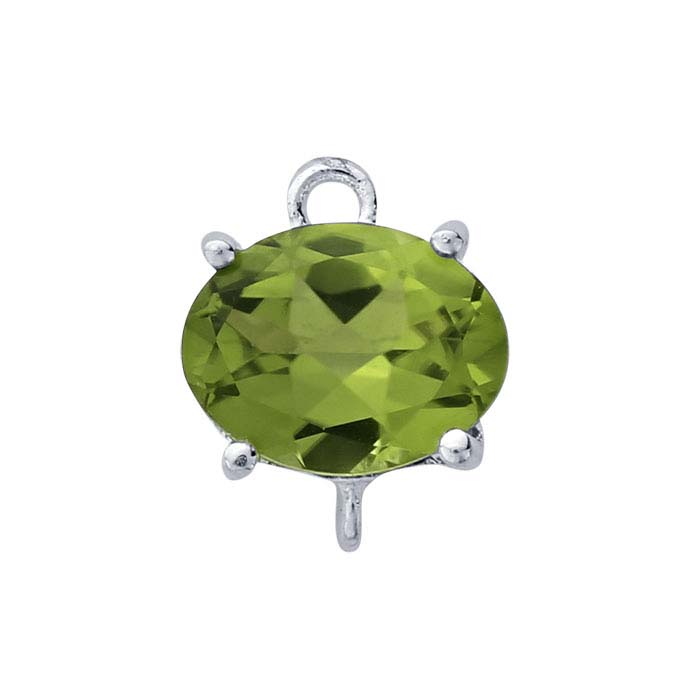 Sterling Silver Oval Peridot-Set Component with Rings