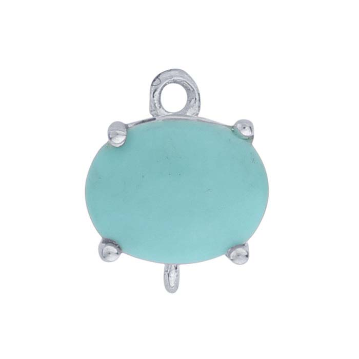 Sterling Silver Oval Turquoise-Set Component with Rings