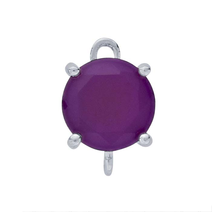 Sterling Silver Round Purple Chalcedony-Set Component with Rings