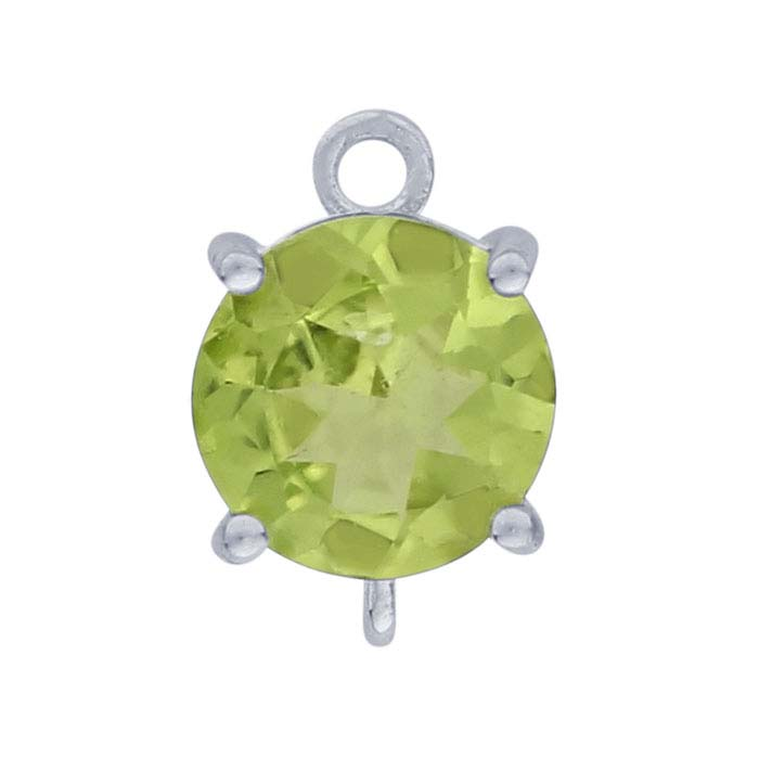 Sterling Silver Round Peridot-Set Component with Rings