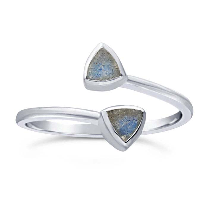 Sterling Silver Labradorite-Set Bypass Ring