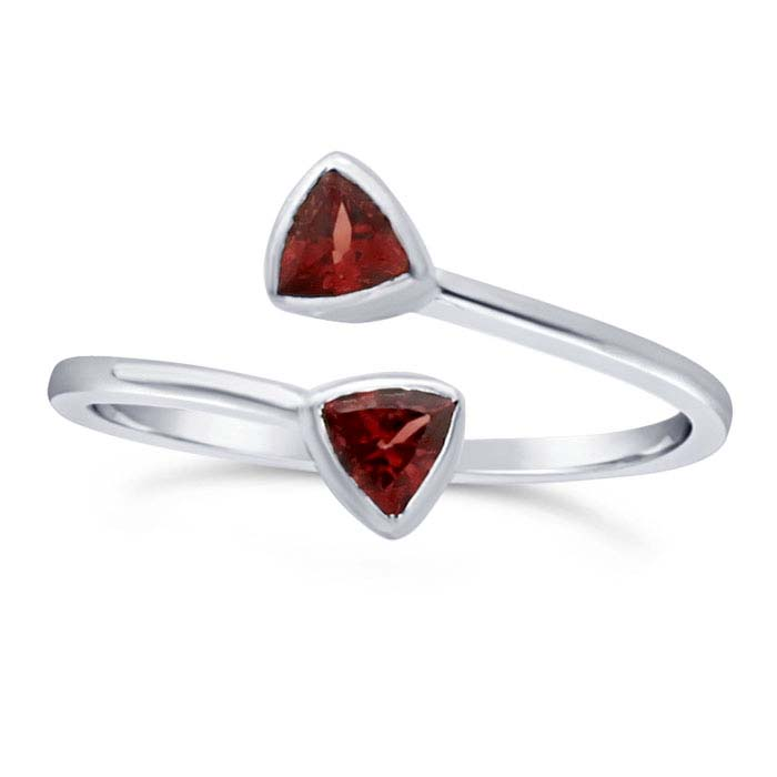 Sterling Silver Garnet-Set Bypass Ring