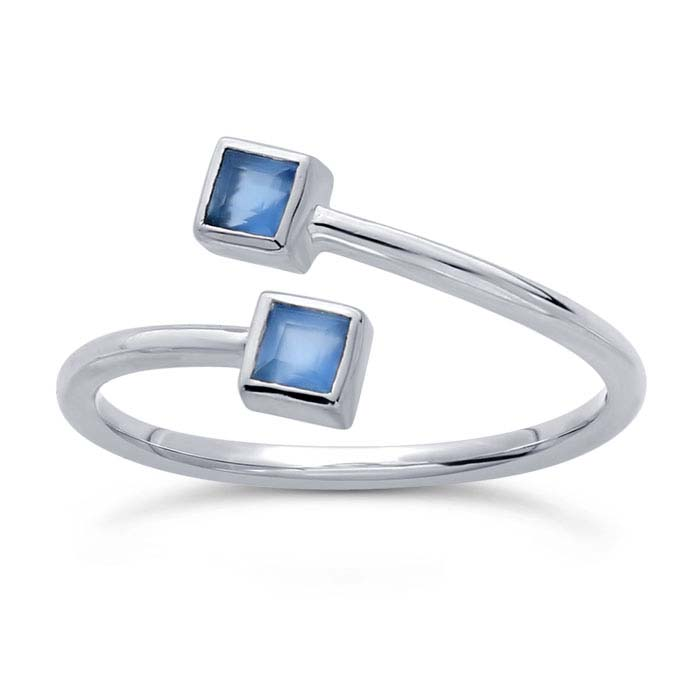 Sterling Silver Blue Chalcedony-Set Bypass Ring