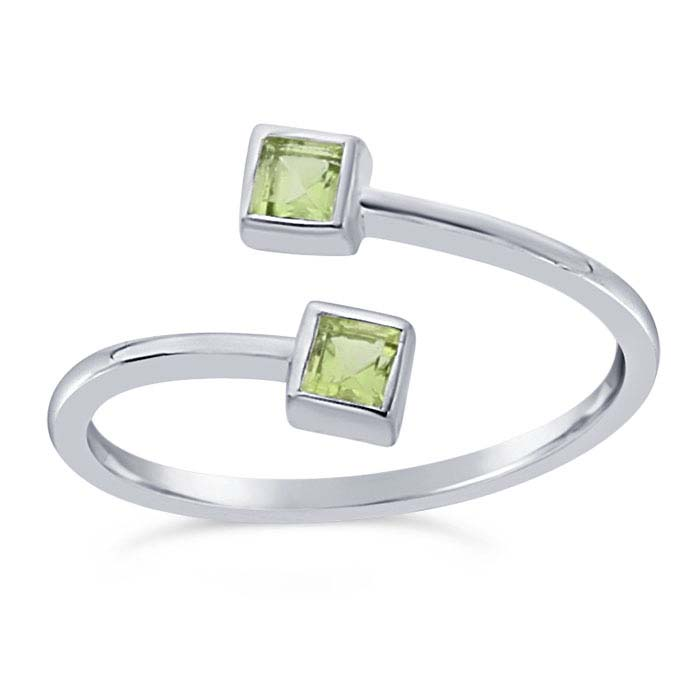 Sterling Silver Peridot-Set Bypass Ring