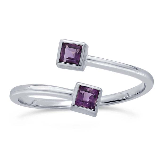 Sterling Silver Amethyst-Set Bypass Ring
