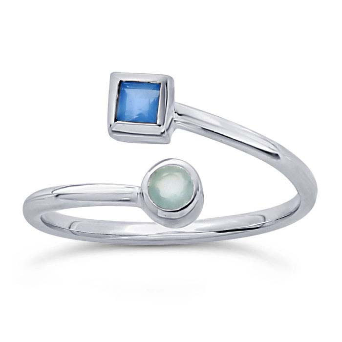 Sterling Silver Blue Chalcedony- & Aqua Chalcedony-Set Bypass Ring