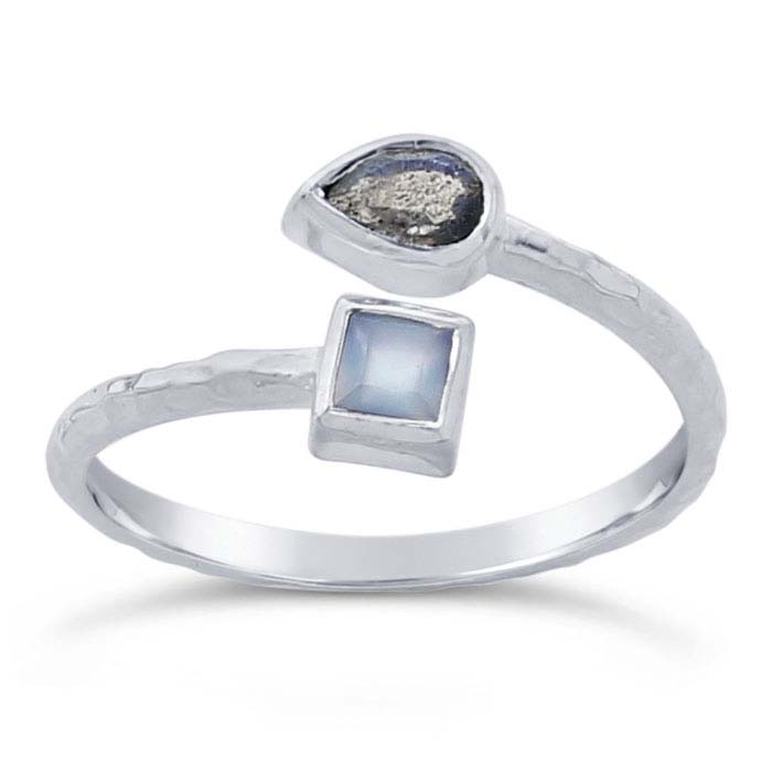 Sterling Silver Hammered Labradorite- & Aqua Chalcedony-Set Bypass Ring