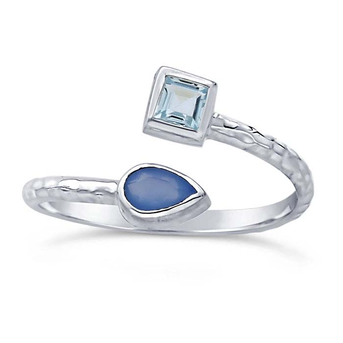 Sterling Silver Hammered Blue Topaz- & Blue Chalcedony-Set Bypass Ring