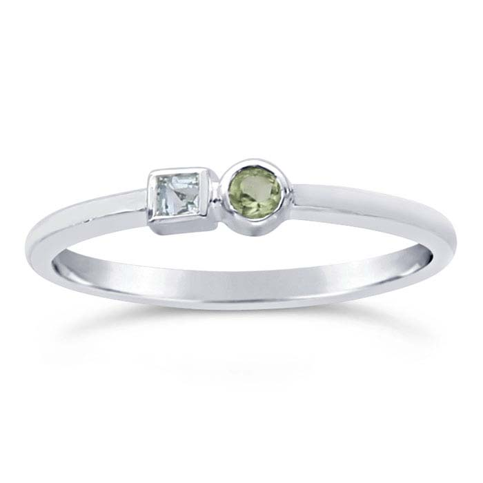 Sterling Silver Blue Topaz- & Peridot-Set Rings