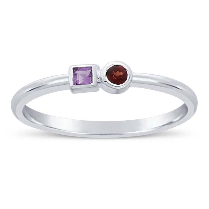 Sterling Silver Amethyst- & Garnet-Set Rings