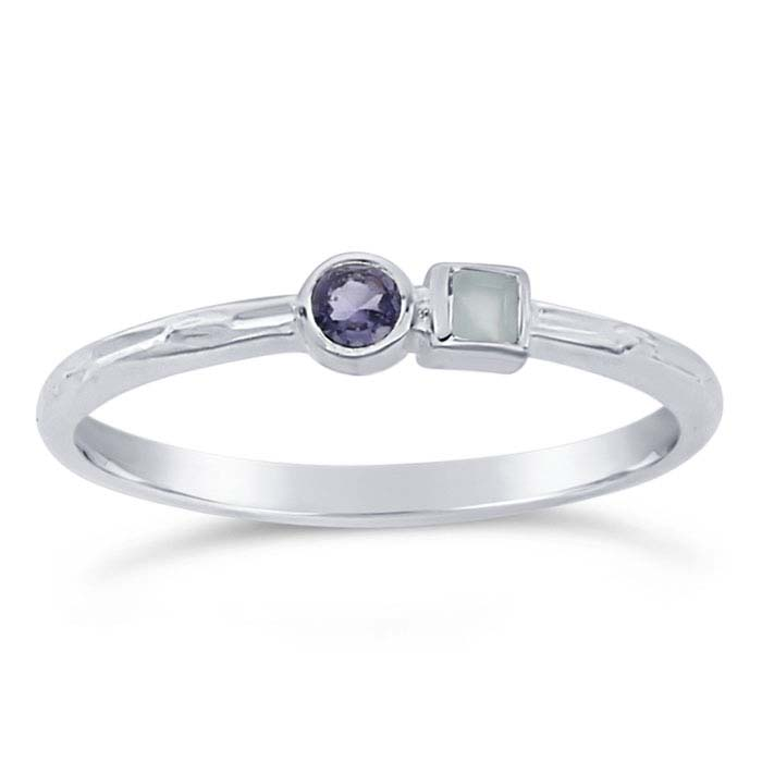 Sterling Silver Aqua Chalcedony & Iolite-Set Rings