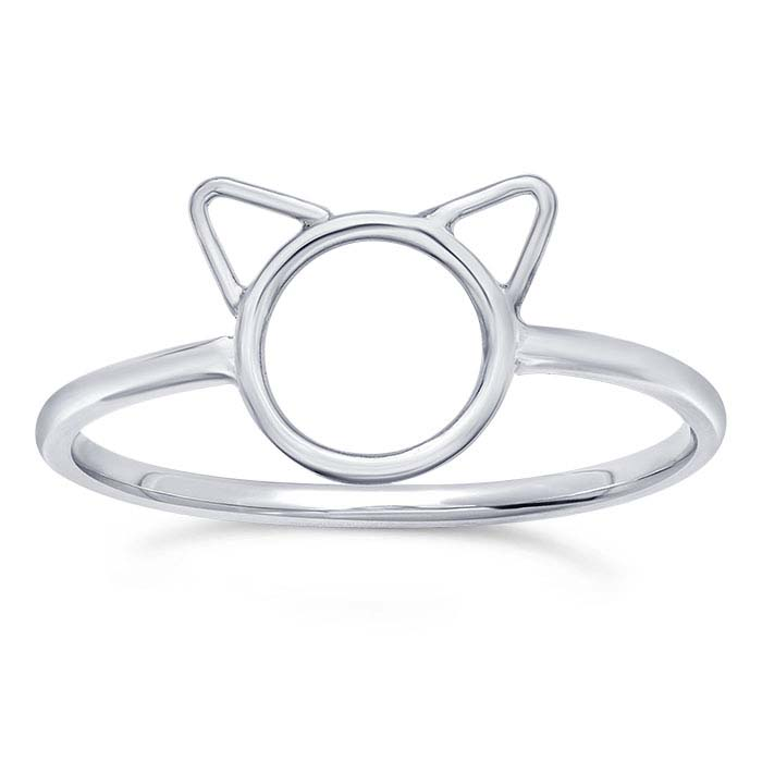 Sterling Silver Cat Face Rings