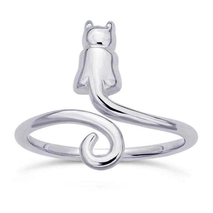 Sterling Silver Sitting Cat Ring, Adjustable