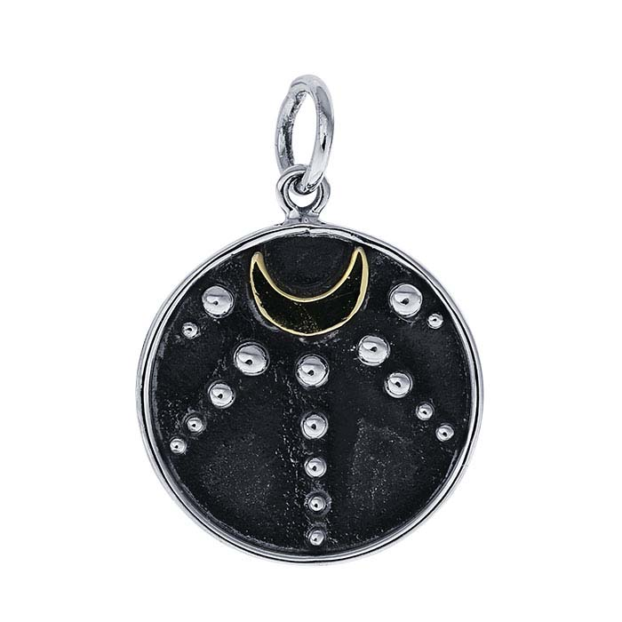 Sterling Silver Crescent Moon & Granulation Charm