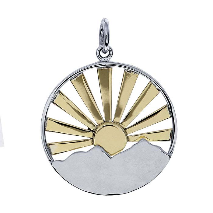 Sterling Silver Bronze Sunrise Over Mountain Charm