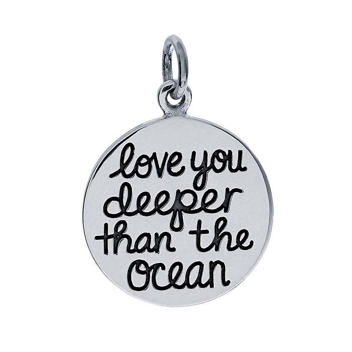 "Sterling Silver ""love you deeper than the ocean"" Charm"