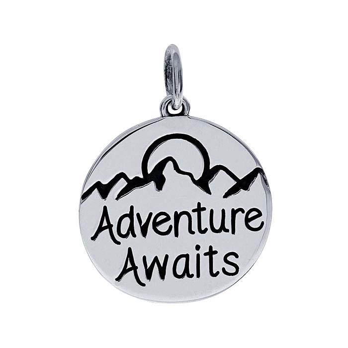"Sterling Silver ""Adventure Awaits"" Charm"