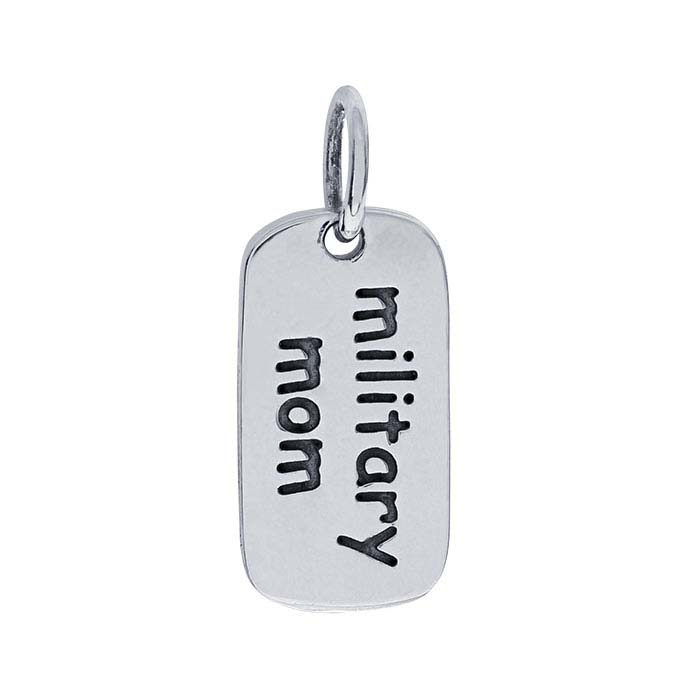 "Sterling Silver ""military mom"" Charm"