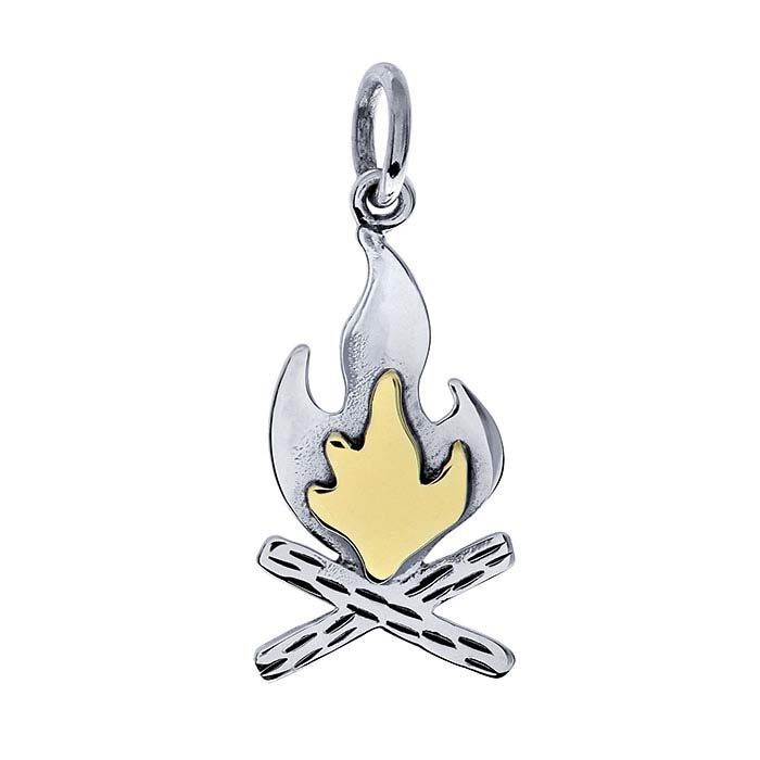 Sterling Silver Campfire Charm