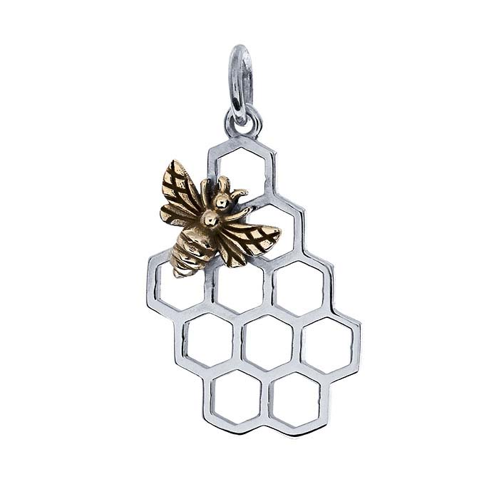 Sterling Silver Honeycomb Charm with Bronze Bee