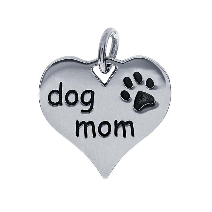 "Sterling Silver Heart ""dog mom"" Charm"