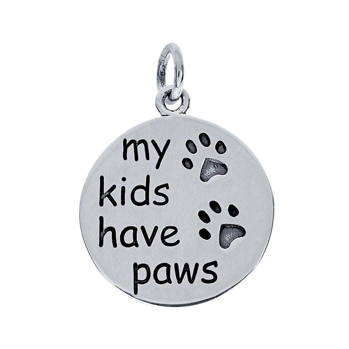 "Sterling Silver ""my kids have paws"" Charm"