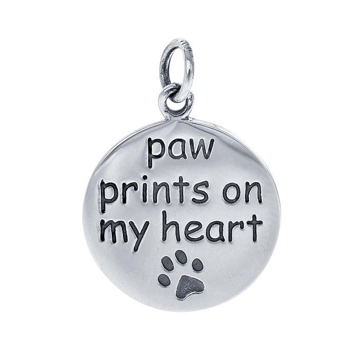 "Sterling Silver ""paw prints on my heart"" Charm"