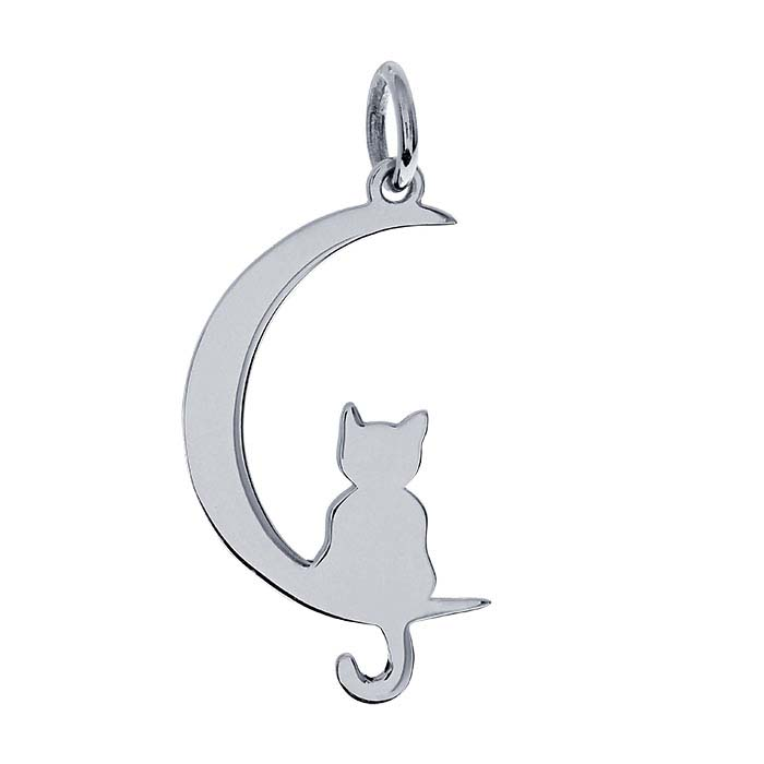 Sterling Silver Cat On The Moon Charm